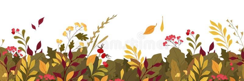 Autumn plants leaves flat vector horizontal background stock illustration