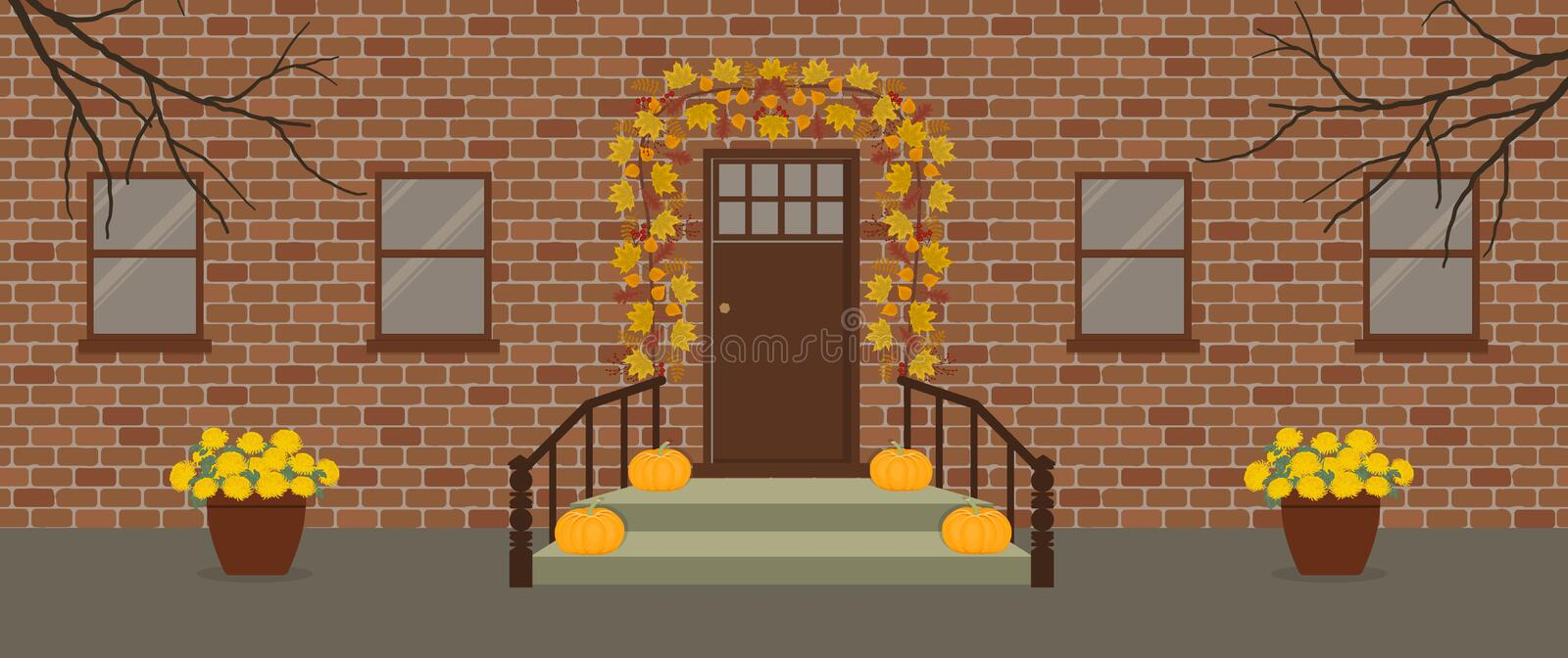 Autumn porch decor with a garland of autumn leaves vector illustration