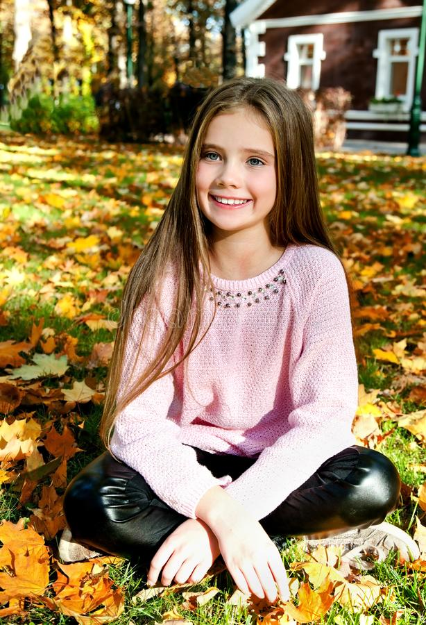 Autumn portrait of adorable smiling little girl child with leav stock photos