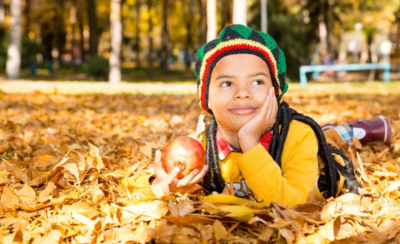Autumn portrait of African American beautiful child. Happy little black boy with leaves in the park in fall. royalty free stock photography