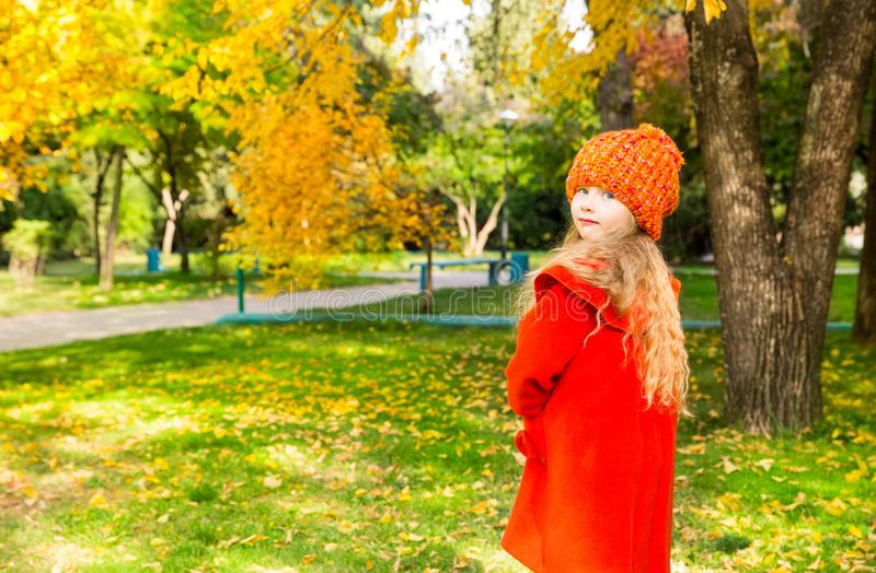 Autumn portrait of beautiful child. Happy little girl with leaves in the park in fall. Autumn portrait of beautiful child. Happy little girl with leaves in park stock photos