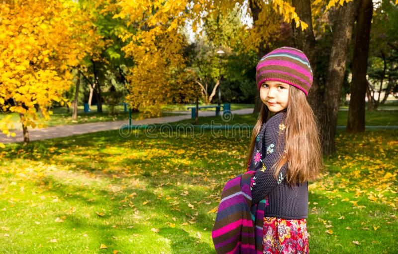 Autumn portrait of beautiful kazakh, asian child. Happy little girl with leaves in the park in fall. royalty free stock photography