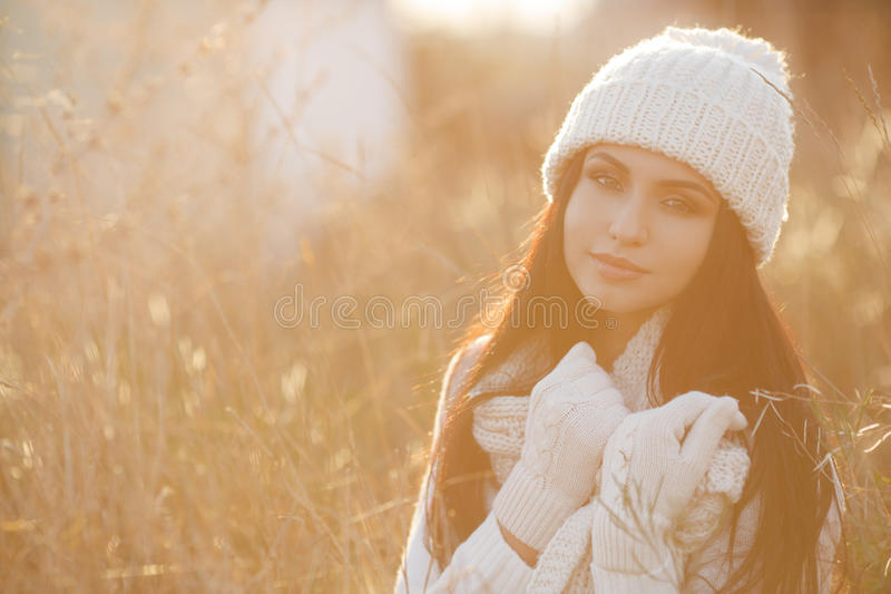 Autumn portrait of a beautiful woman in the field royalty free stock images