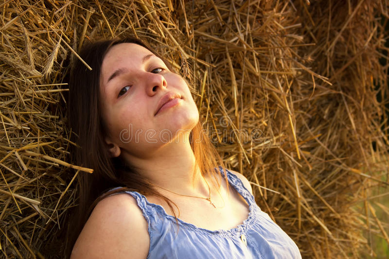Autumn portrait in the field royalty free stock photo
