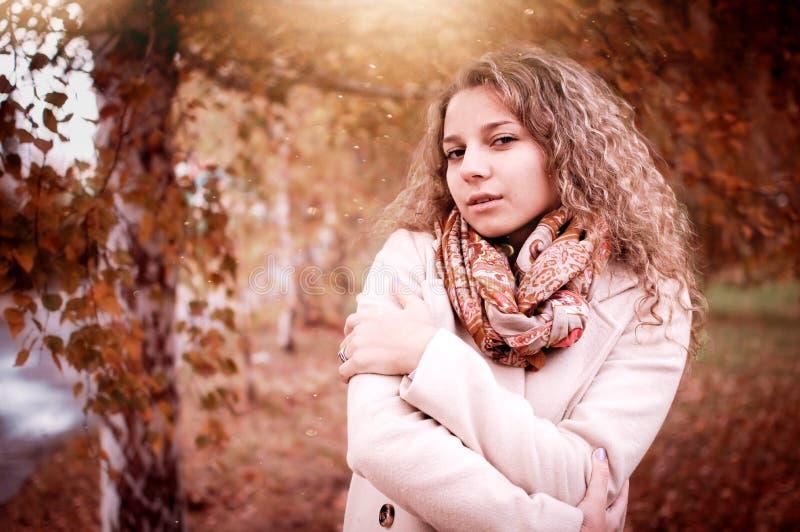 Autumn portrait of a girl stock photo