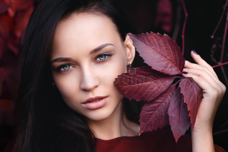 Autumn portrait of a girl royalty free stock images