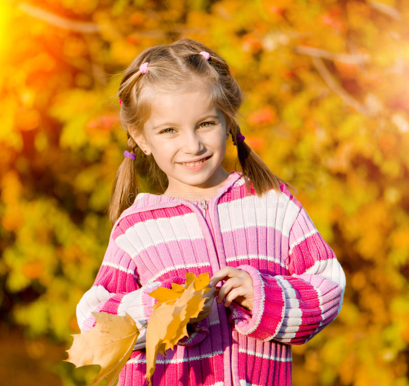 Autumn portrait of a little girl. Little girl against the leaves of mountain ash royalty free stock photo