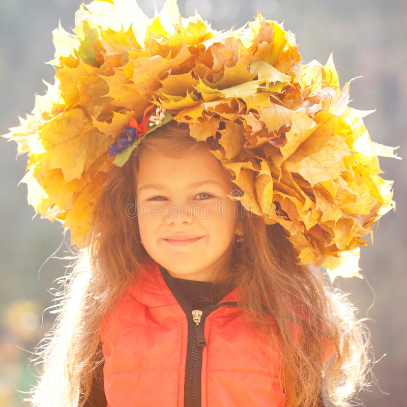 Autumn portrait of little girl royalty free stock images