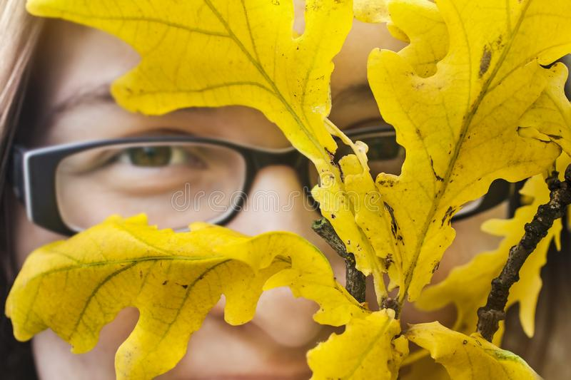 Autumn portrait with oak leaves. royalty free stock images
