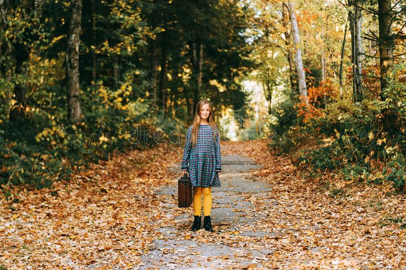 Autumn portrait of pretty young girl stock photos