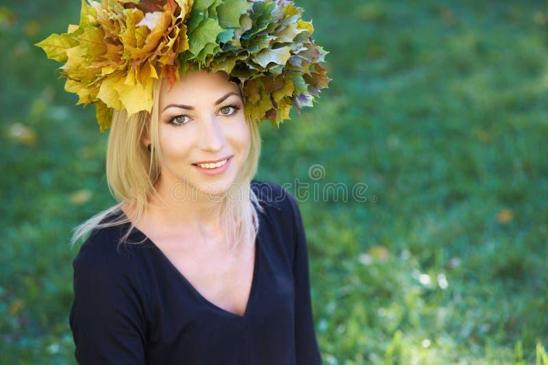 Autumn portrait. Young girl stock photos