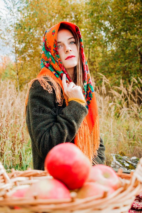 Autumn portrait, young beautiful girl in nature with a wicker basket of apples stock image