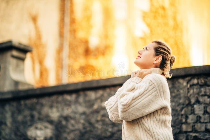Outdoor autumn portrait of beautiful woman stock image