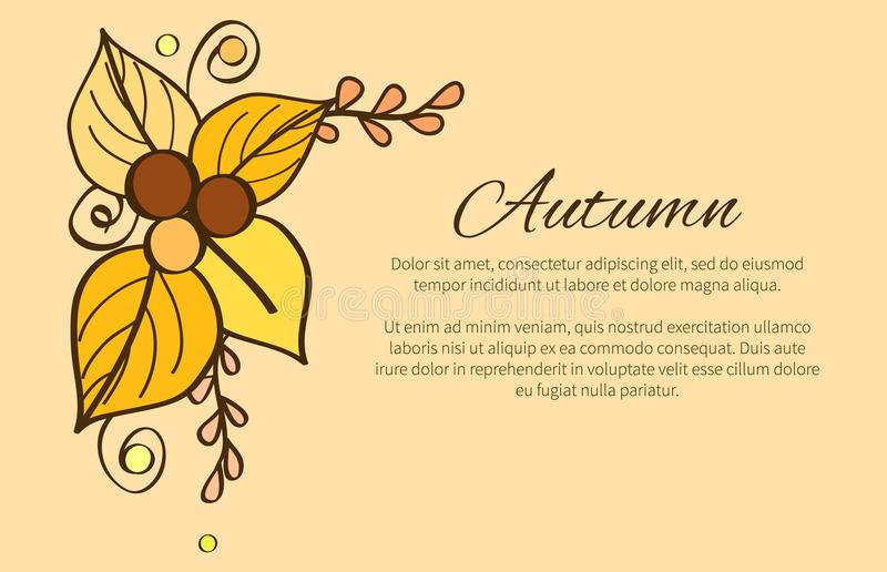 Autumn Poster with Yellow and Orange Leaves, Decor vector illustration