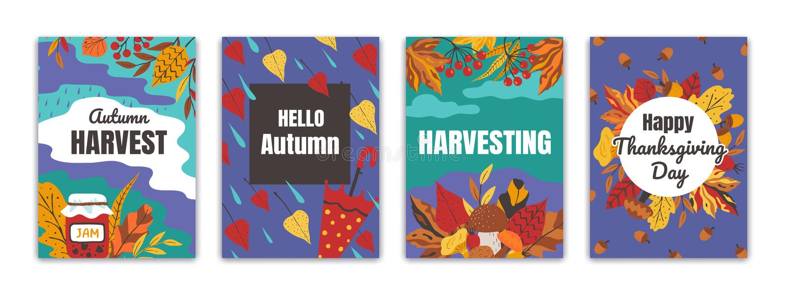 Autumn posters. Flyers and greeting cards with fall foliage for seasonal events, thanksgiving holiday banners. Vector. Hand drawn perfect seasonality festival royalty free illustration