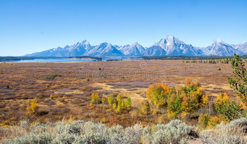 Autumn prairie and the Tetons stock photography