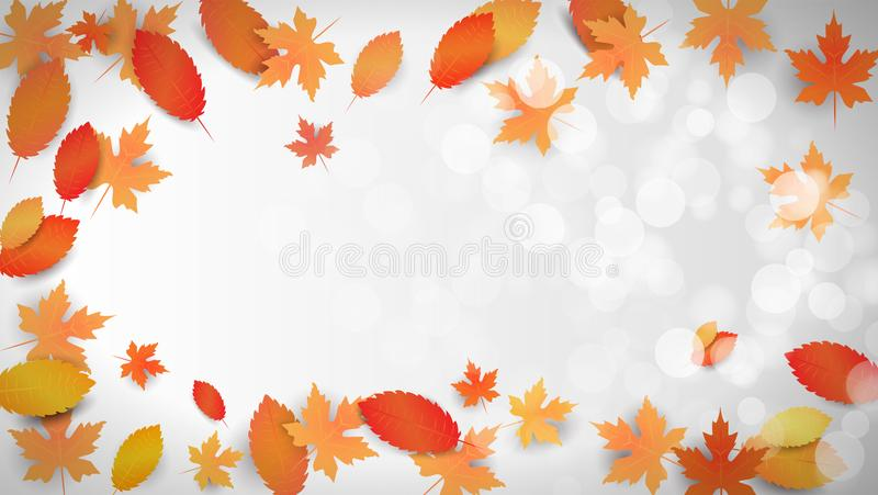 Autumn background with leaves and empty space for your text. Template for wallpaper, blank, card, flyers, invitation, poster, brochure, banners, discount, shop vector illustration