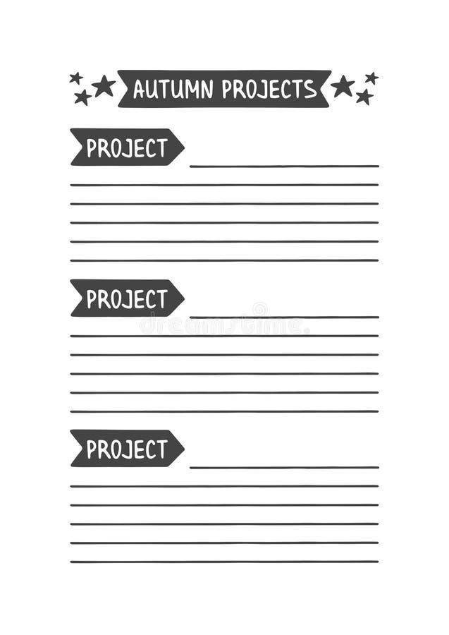Autumn Project Vectormalplaatje voor Agenda, Ontwerper en Andere Kantoorbehoeften vector illustratie