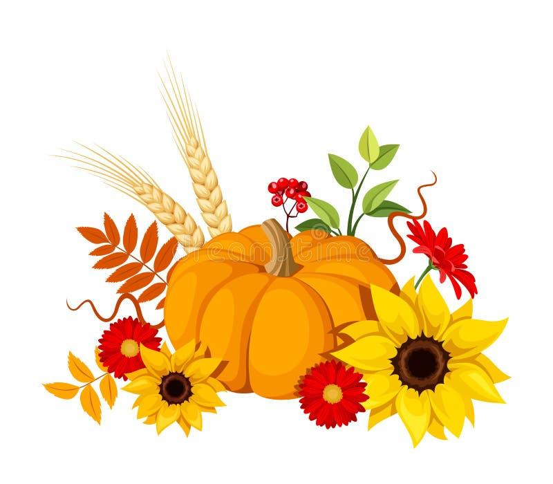 Autumn pumpkin and flowers. Vector illustration. royalty free illustration