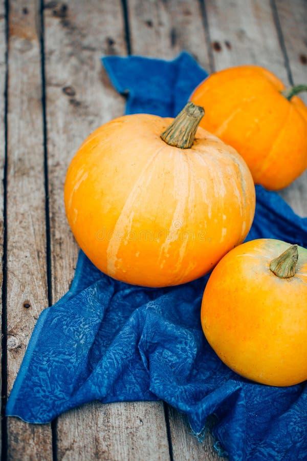 Autumn Pumpkin Thanksgiving Background - abóboras alaranjadas sobre o wo imagens de stock royalty free
