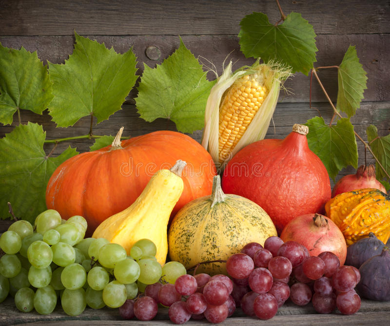 Autumn Pumpkins On Wooden Boards Royalty Free Stock Photography