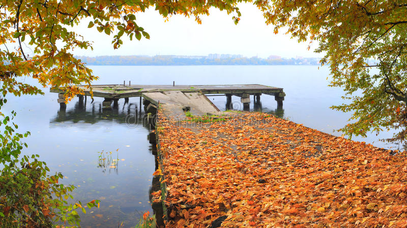 Autumn on the quay stock image