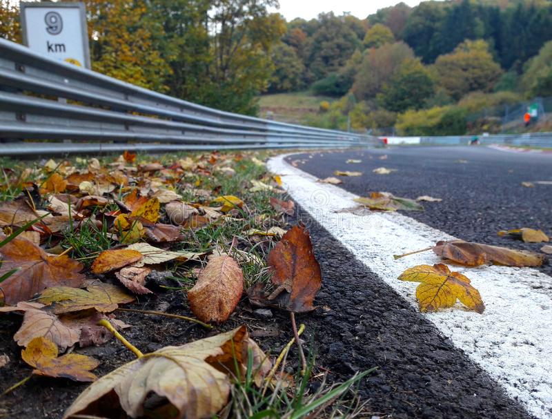 Autumn of the racetrack. An autumn day on the Nürburgring Nordschleife royalty free stock photo