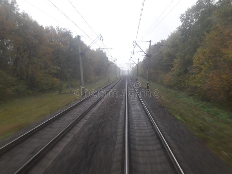 Autumn rail way stock images