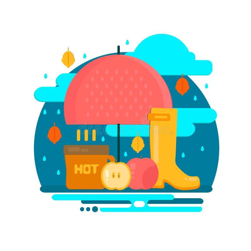 Autumn rain composition in flat style vector illustration