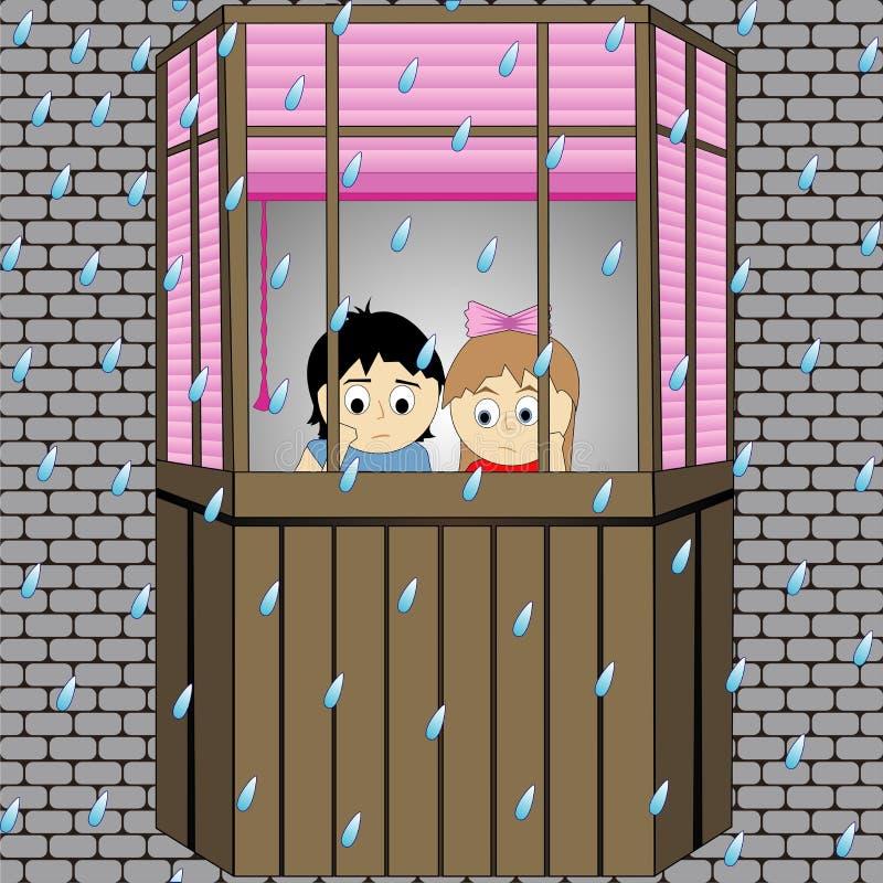 Autumn Rain Melancholie Vector grafiek royalty-vrije illustratie