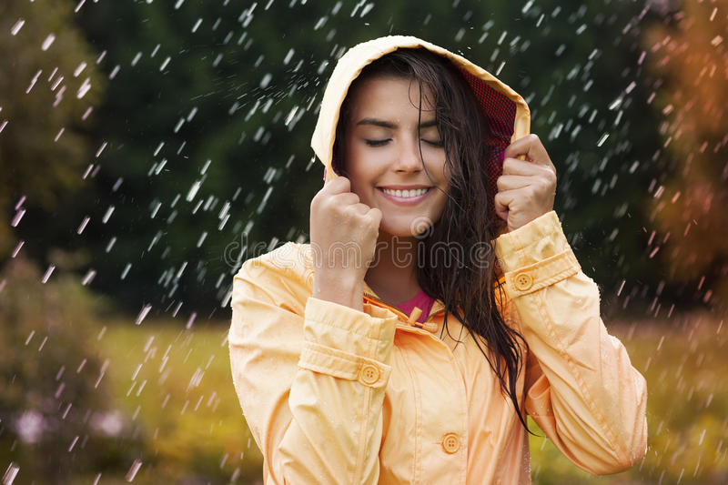 Autumn rain. Natural female beauty in autumn rain stock photography