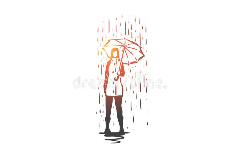 Autumn, rain, umbrella, season, weather concept. Hand drawn isolated vector. vector illustration
