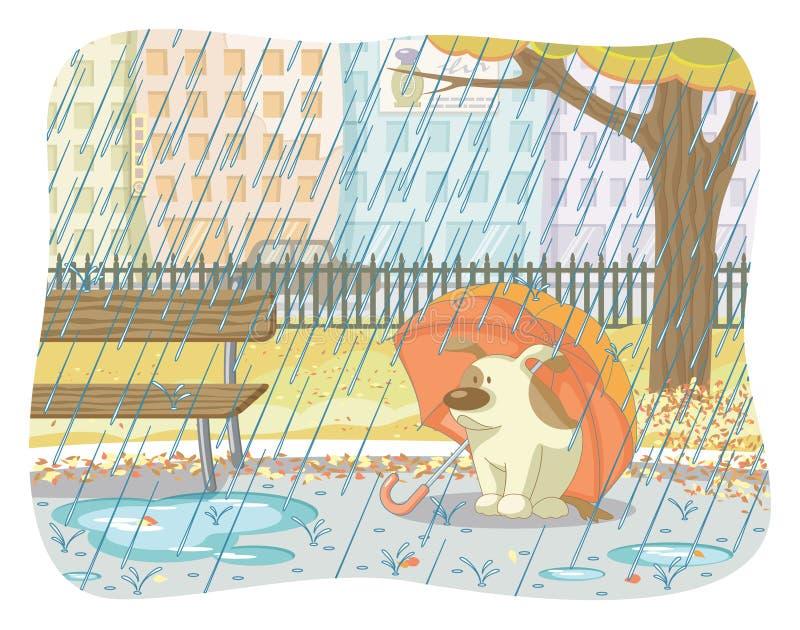 Autumn rainy day. Vector illustration of a rainy autumn day