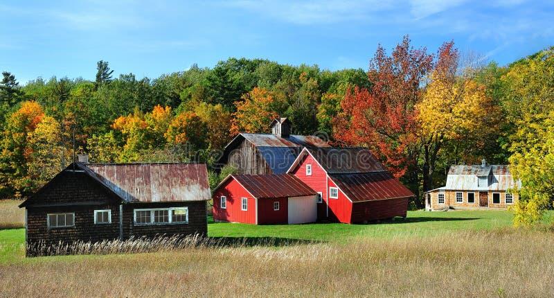 Autumn red barn, Michigan Sleeping Bear Dunes stock images