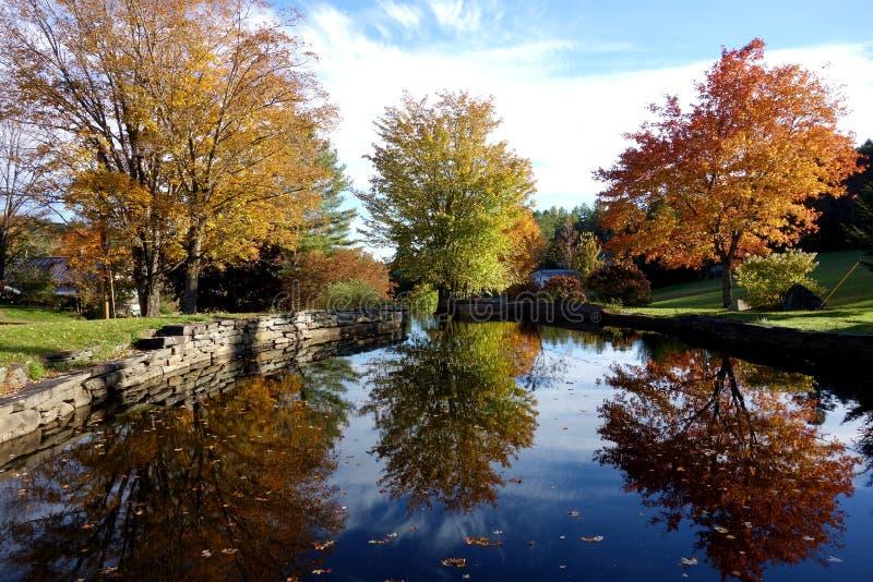 Autumn Reflection Pond Trio fotos de archivo