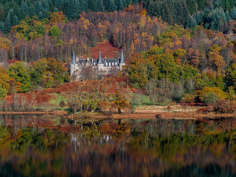 Autumn reflections on Loch Achray royalty free stock images