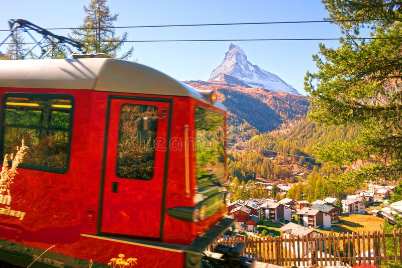 Gornergrat Railway. Autumn resort slopes and bright beautiful landscape with the famous Matterhorn peak in autumn in Switzerland. Special cog Gornergrat Railway stock photo