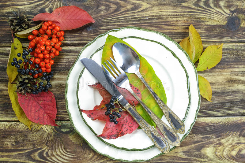 Autumn restaurant menu free text copy space and table setting stock images