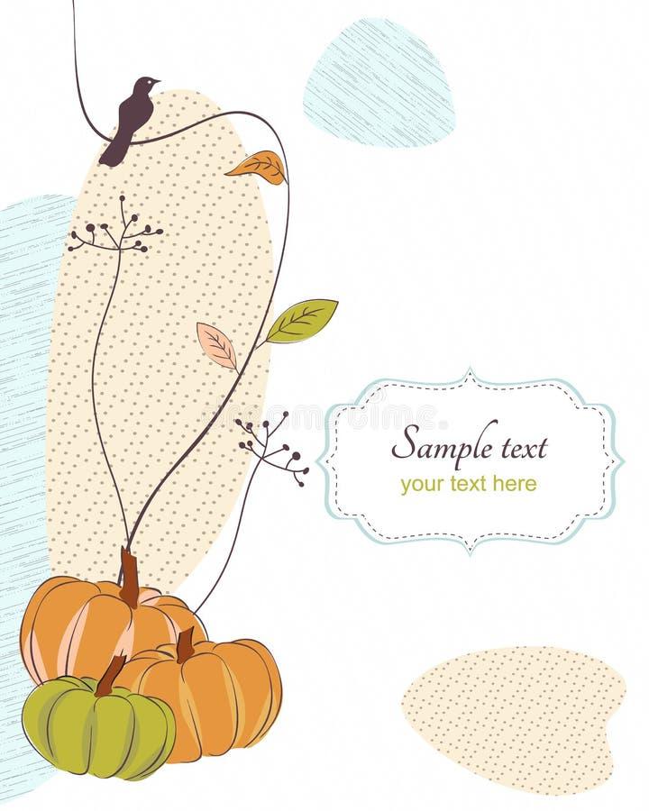 Autumn retro background with bird,flora, pumpkins stock illustration