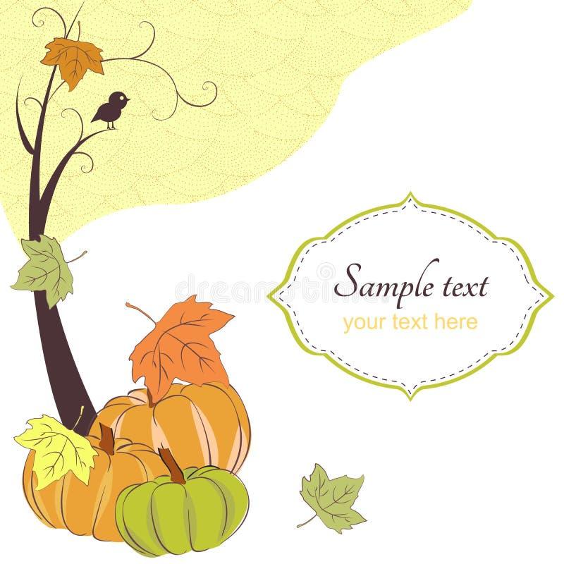 Autumn retro background with tree, pumpkins vector illustration