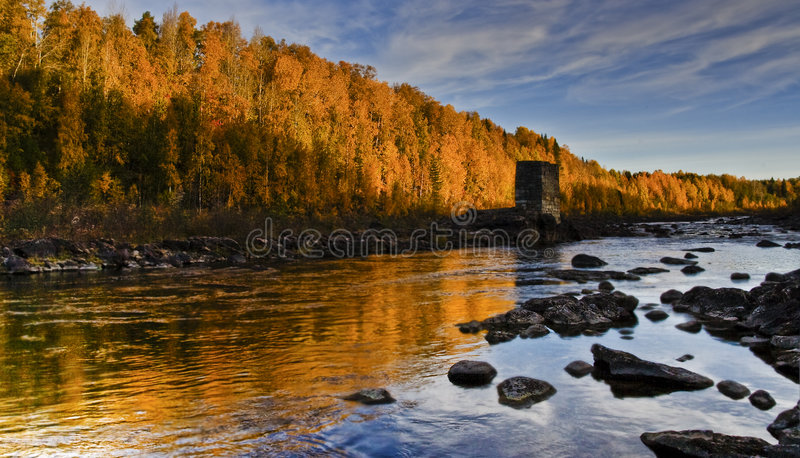 Download Autumn river stock image. Image of calm, twilight, midnight - 3335741