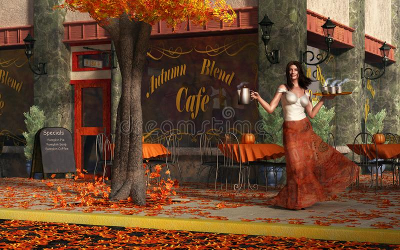 Autumn Roast Cafe. A barista has your coffee ready for you in front of a city cafe. It`s autumn and brightly colored leaves cover the sidewalk. A live band can royalty free illustration