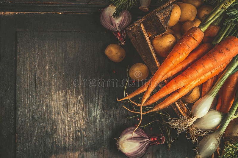 Autumn root vegetables cooking ingredients in wooden box on dark rustic background, top view stock image
