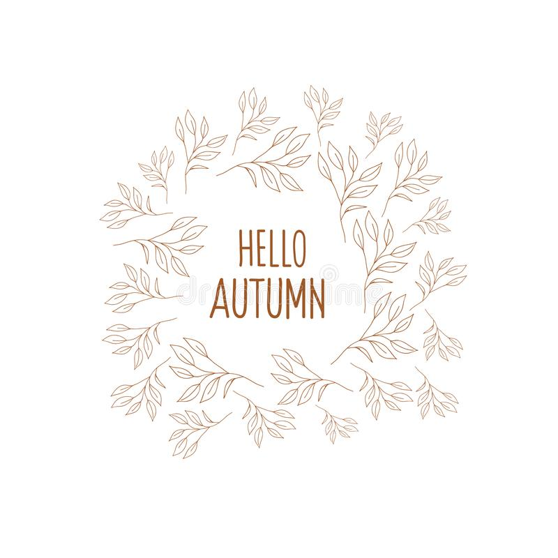 Autumn round frame with flowers. Vector frame in the style of a doodle. Lettering Inscription hello autumn.  stock illustration