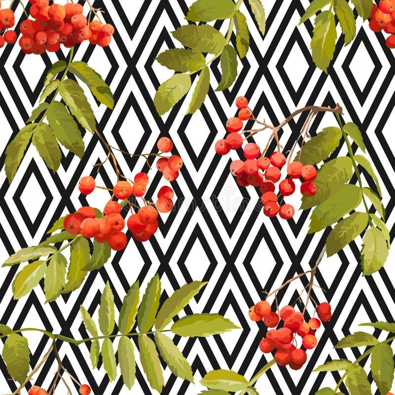Autumn Rowan Berry Background - Geometric Vintage Seamless Pattern royalty free illustration