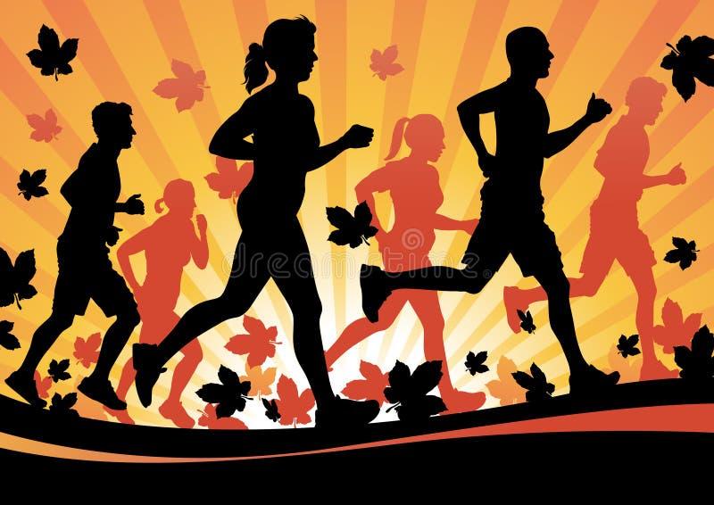 Autumn Running. Vector illustration of a group of People Running in the Autumn Leaves vector illustration