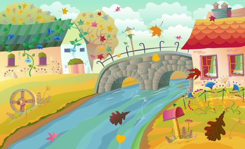 Autumn rural landscape royalty free illustration