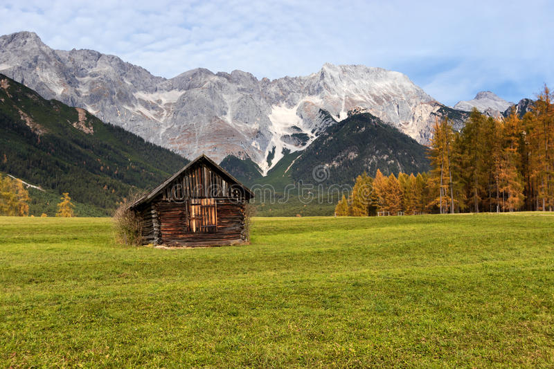 Autumn rural scenery of miemenger plateau with rocky mountains peaks download autumn rural scenery of miemenger plateau with rocky mountains peaks in the background austria voltagebd Images