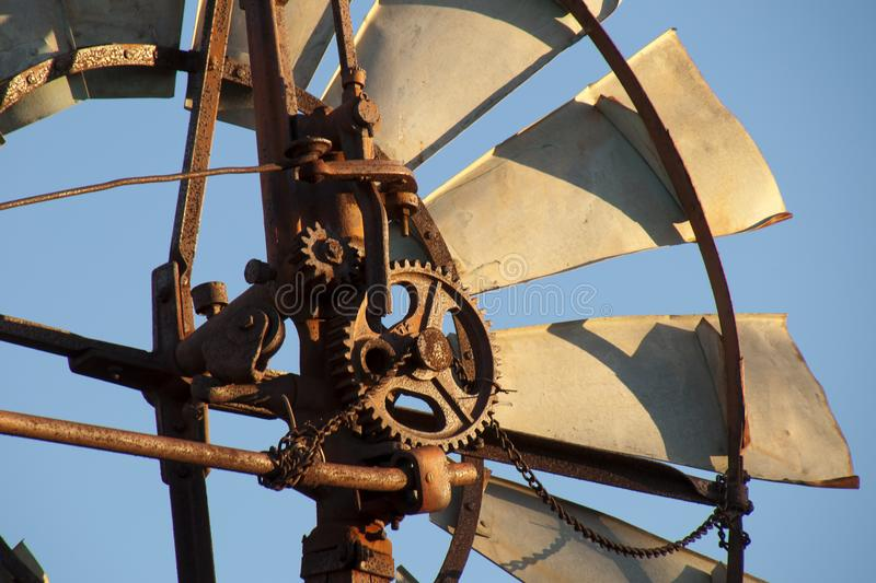 Windmill mechanism in the late afternoon sun. Autumn in rural South Australia around Quorn stock photography