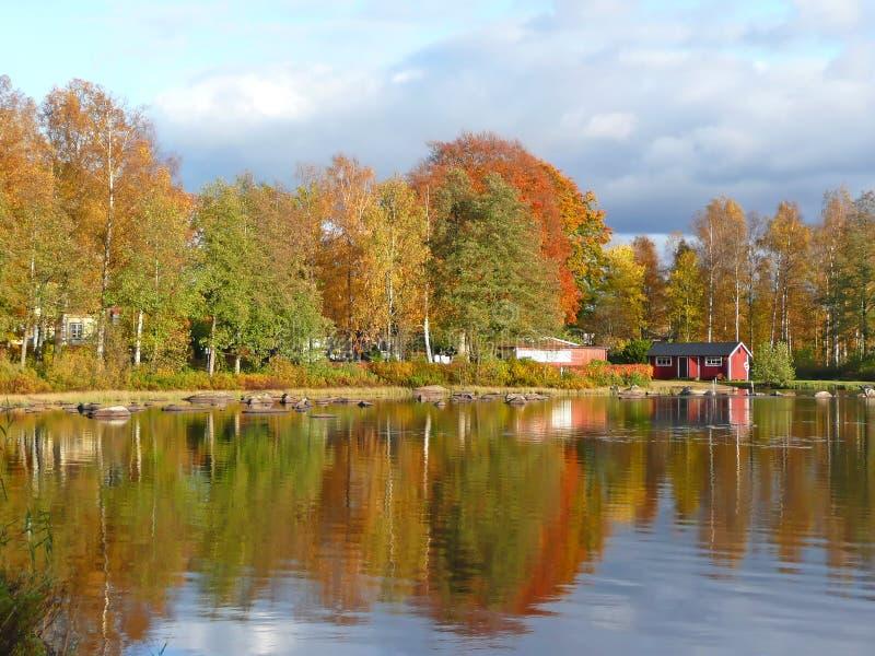 Autumn's mirror landscape stock photography